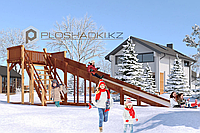 Детская зимняя площадка Савушка Зима-6, (8,7 х 2,94 х 3,0), зимний заливной скат, широкая лестница.