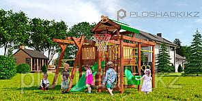 Детская площадка Савушка BABY-5, игровой домик с крышей, сетка-лазалка, турник, балкон, меловая доска.