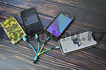 USB кабель универсальный для зарядки до 3 устройств под все разъемы на карбине в ассортименте