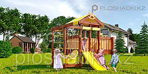 Детская площадка Савушка BABY-6(play), шведская стенка, турник, качели, сетка-лазалка, балкон, скалодром.