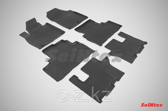 Резиновые коврики с высоким бортом для KIA Sorento Prime (3 ряда) 2015-н.в., фото 2