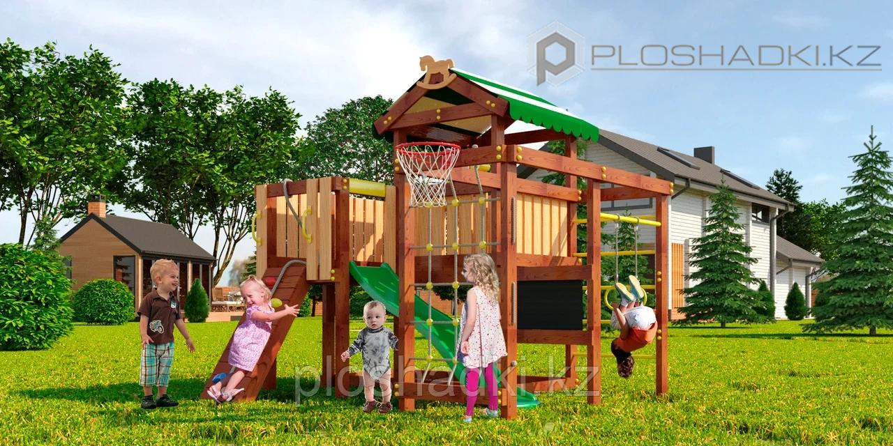 Детская площадка Савушка BABY-8(play), баскетбольное кольцо, горка, сетка-лазалка, шведская стенка, турник.