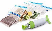 Вакуумный упаковщик вакуумных пакетов для хранения продуктов. Набор 10 пакетов + ручной насос