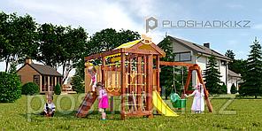 Детская площадка Савушка BABY-11(play), турник, скалодром, горка, лестница, руль, игровой домик, швед.стенка.