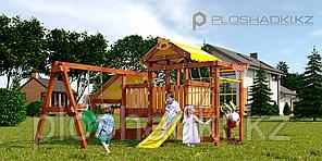 Детская площадка Савушка BABY-12(play), с игровым домиком, горкой, шведской стенкой, турником, биноклем,