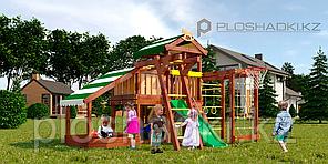 Детская площадка Савушка BABY-13(play), игровой домик, балкон, рукоход, турник, кольца гимнастические, качели.