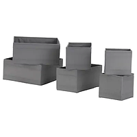Коробки набор СКУББ 6 шт. темно-серый, ИКЕА, IKEA