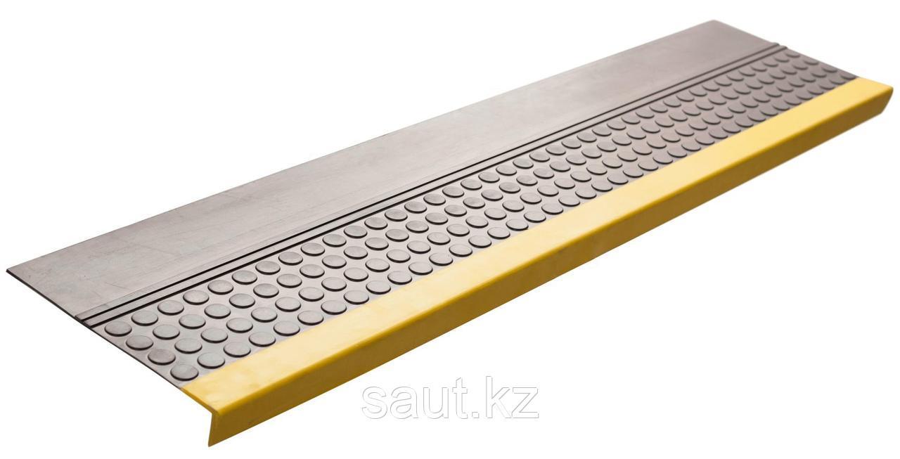 Накладка на ступень (Проступь) Удлиненная продольное рифление, пятачковая 1200x300x30 Светофор, Серая