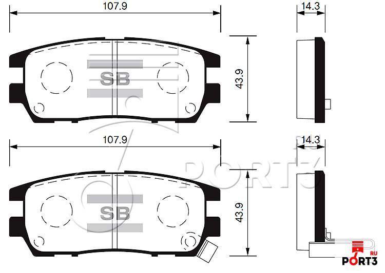 Колодки задние Mitsubishi Pajero 90-00, Delica PD51 >95, L400 2.5 TDI 96-02, Space Gear 94-00