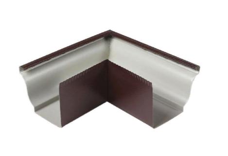 Угол желоба наружный 135º Коричневый 120х86  Металлический прямоугольного сечения ПЭ Ral 8017