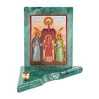 Икона с подсвечником Вера, Надежда, Любовь и мать их София малая 9,5х9,5х10 см