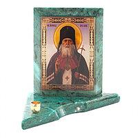Икона с подсвечником Святой Лука малая из змеевика 9,5х9,5х10 см