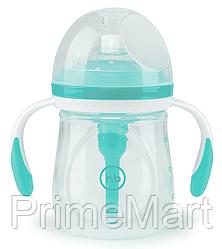 Бутылочка Happy Baby Anti-Colic Baby Bottle антиколиковая с ручками и силиконовой соской 180 мл Aqua