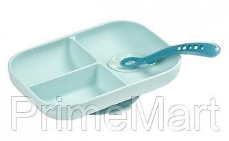 Набор посуды Beaba тарелка и ложка Set Repas Silicone Avec Ventouse Bleu