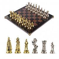 """Подарочные шахматы """"Средневековые рыцари"""" доска 44х44 см из мрамора и змеевика"""