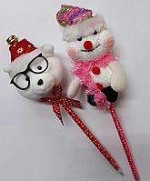 Ручка большой снеговик и медведь