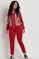 Женский осенний трикотажный красный спортивный большого размера спортивный костюм Solomeya Lux 728 красный