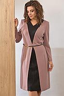 Женское осеннее трикотажное розовое нарядное платье Angelina 497 розовый 54р.