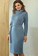 Женское осеннее трикотажное голубое нарядное платье Angelina 498  голубой 54р.