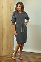 Женское осеннее трикотажное серое большого размера платье Angelina 596 графит 56р.