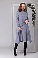 Женское осеннее трикотажное платье Michel chic 2019 серо-голубой 54р.