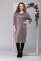 Женское осеннее трикотажное бежевое нарядное большого размера платье Michel chic 2026 бежевый 66р.