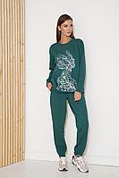 Женский осенний трикотажный зеленый спортивный большого размера спортивный костюм Fantazia Mod 3799 52р.
