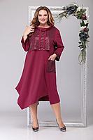 Женское осеннее трикотажное красное большого размера платье Michel chic 2024 бордо 60р.