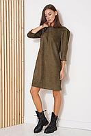 Женское осеннее зеленое платье Fantazia Mod 3792 хаки 48р.
