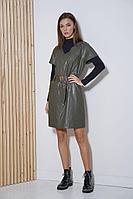 Женский осенний кожаный комплект с платьем Fantazia Mod 3642/1 46р.