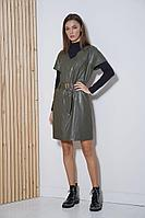 Женский осенний кожаный комплект с платьем Fantazia Mod 3642/1 50р.