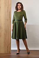 Женское осеннее зеленое нарядное платье Angelina 381 хаки 52р.