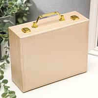 """Шкатулка кожзам для украшений чемодан """"Греческий орнамент"""" сливочный 8,5х23,5х18,5 см"""