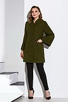 Женское осеннее драповое зеленое пальто Lissana 4163 темно-оливковый 52р.