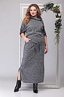 Женское осеннее трикотажное серое большого размера платье Michel chic 1195 серый_меланж 64р.