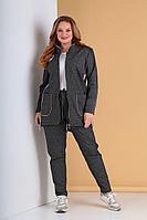 Женский осенний трикотажный серый спортивный большого размера спортивный костюм Tensi 293 58р.