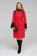 Женское осеннее драповое красное большого размера пальто LaKona 797 красный 56р.