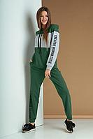Женский осенний трикотажный зеленый спортивный большого размера спортивный костюм Ксения Стиль 1807 50р.