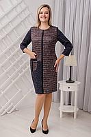 Женское осеннее трикотажное большого размера платье Viktoria 110 меланж-махагон 52р.