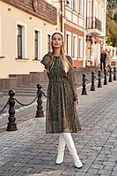 Женское осеннее шифоновое зеленое платье Vesnaletto 2440-2 48р.
