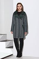 Женское осеннее драповое зеленое большого размера пальто Lissana 4143 58р.