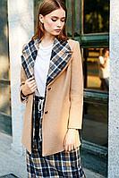 Женское осеннее драповое бежевое пальто Colors of PAPAYA 1329 46р.