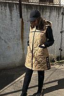 Женский осенний трикотажный спортивный большого размера спортивный костюм Runella 1434 золото 58р.