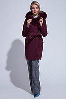 Женское зимнее драповое красное пальто ElectraStyle НП3у-8004-128 бургундия 50р.
