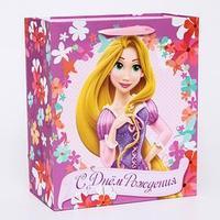 Пакет ламинированный вертикальный 'Цветочного Дня Рождения!', Принцессы Дисней, 23 х 27 х 11.5 см