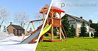 """Детская площадка Савушка """"4 сезона"""" 2 с игровой башней горкой и качелями, фото 1"""
