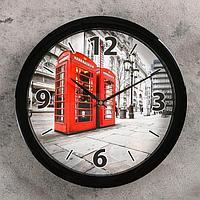 """Часы настенные """"Телефонные будки"""", чёрный обод, 28х28 см"""