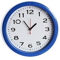 """Часы настенные """"Классика"""", арабские цифры, синий обод, 28х28 см"""
