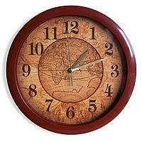 """Часы настенные """"Карта"""", коричневый обод, 28х28 см"""