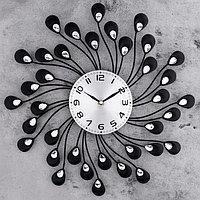"""Часы настенные, серия: Ажур, """"Лепестки с кристалами"""" d=40 см"""
